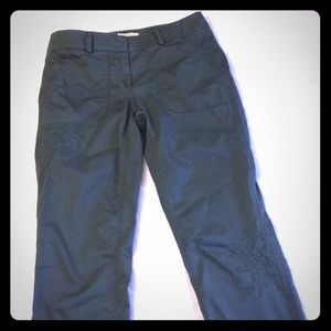 Embroidered Olive Green Cargo Skinny Pants